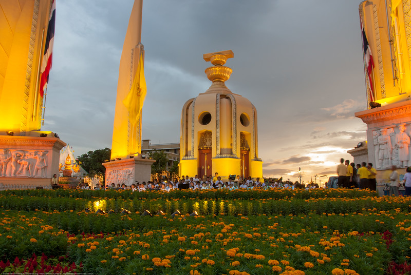 The Democracy Monument is a public monument in the centre of Bangkok, capital of Thailand. It occupies a traffic circle on the wide east-west Ratchadamnoen Avenue, at the intersection of Dinso Road.
