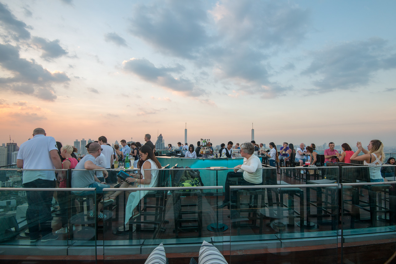Guests enjoy 360º view from Octave Rooftop Lounge & Bar of Bangkok Marriott Hotel Sukhumvit, Bangkok, Thailand. Located on the 45th floor, this luxury hotel is set in the posh Thonglor district.