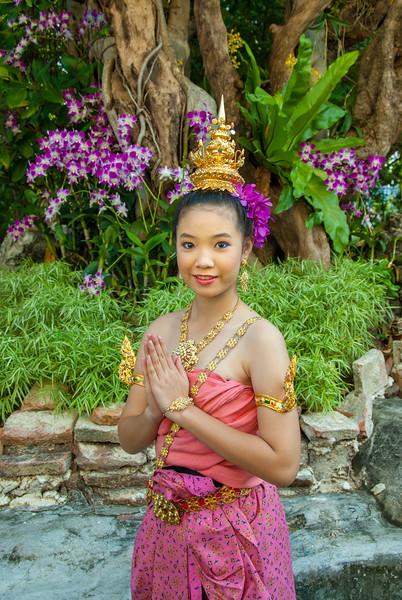 Young apsaras perform at The Golden Mount, Bangkok, Thailand. Wat Saket Ratcha Wora Maha Wihan usually called: Wat Saket. The temple dates back to the Ayutthaya era, when it was known as Wat Sakae. When Bangkok became the capital, King Rama I renovated the temple and gave it its present name.