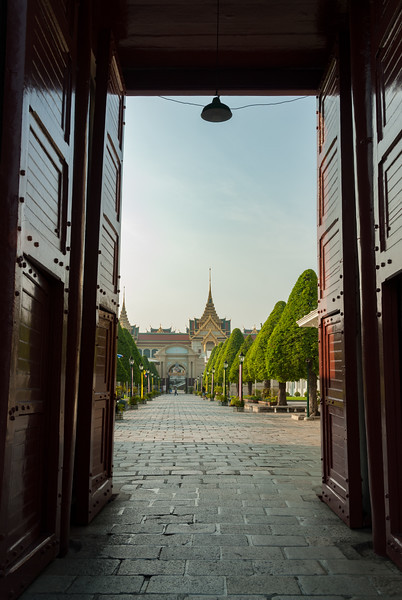 Gate of Wiset Chaisri, Bangkok, Thailand. Wat Bang Phra dates to the late 18th century, just before the second fall of Ayutthaya. One of the entrance to The Grand Palace. Built in 1782, this ornate royal palace complex now houses a museum & is open to visitors.