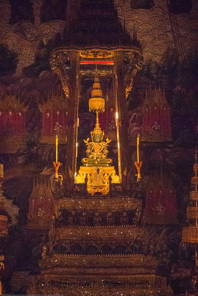 Emerald Buddha Temple. Bangkok, Thailand. The Royal Pantheon.<br /> <br /> Wat Phra Kaew, commonly known in English as the Temple of the Emerald Buddha and officially as Wat Phra Si Rattana Satsadaram, is regarded as the most sacred Buddhist temple in Thailand.