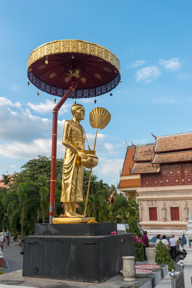 Entrance to Wat Phra Singh Woramahawihan (วัดพระสิงห์วรมหาวิหาร ), 14th-century Buddhist temple boasting gold & copper Buddhas, murals & ancient manuscripts. Chiang Mai, Thailand.