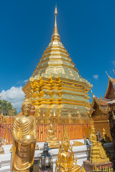 """Temple in gold. Wat Phrathat Doi Suthep (วัดพระธาตุดอยสุเทพ)  is a Theravada wat in Chiang Mai Province, Thailand. The temple is often referred to as """"Doi Suthep"""" although that is the name of the mountain where it's located. This is a sacred site to many Thai people and is also referred as the ornate temple complex. The complex features a golden stupa, statues & a legendary white elephant shrine."""