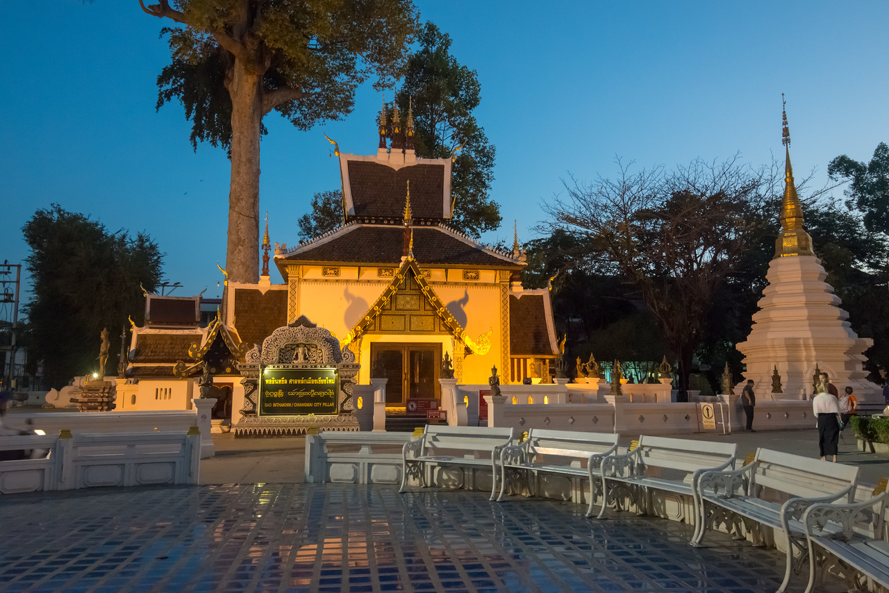 Evening lights at Wat Chedi Luang (วัดเจดีย์หลวง) (temple of the big stupa or temple of the royal stupa). <br /> Wat Chedi Luang is a Buddhist temple in the historic centre of Chiang Mai, Thailand. The current temple grounds were originally made up of three temples — Wat Chedi Luang, Wat Ho Tham and Wat Sukmin. Chiang Mai, Thailand.