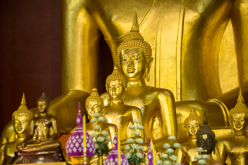 Golden Buddha statue inside Wat Phra Singh Woramahawihan (วัดพระสิงห์วรมหาวิหาร ), 14th-century Buddhist temple boasting gold & copper Buddhas, murals & ancient manuscripts.Chiang Mai, Thailand.
