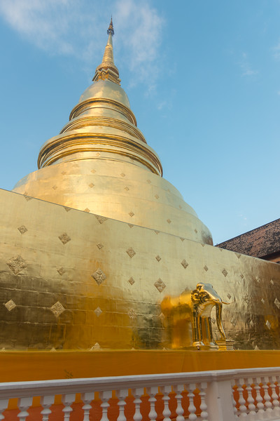 Wat Phra Singh Woramahawihan (วัดพระสิงห์วรมหาวิหาร ) decorated in gold, 14th-century Buddhist temple boasting gold & copper Buddhas, murals & ancient manuscripts.Chiang Mai, Thailand.