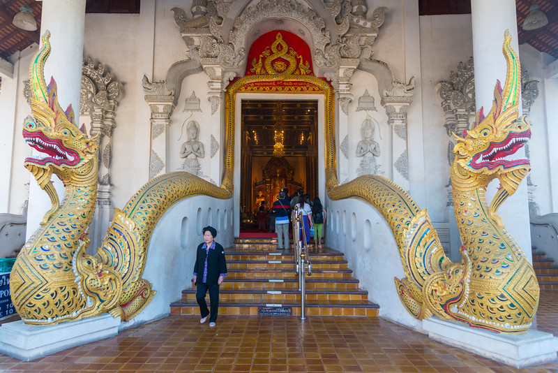 Entrance to Wat Chedi Luang (วัดเจดีย์หลวง) <br /> Wat Chedi Luang is a Buddhist temple in the historic centre of Chiang Mai, Thailand. The current temple grounds were originally made up of three temples — Wat Chedi Luang, Wat Ho Tham and Wat Sukmin. Chiang Mai, Thailand.