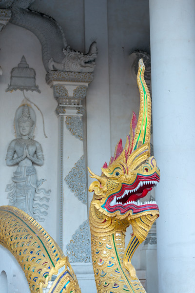 Viharn entrance to Wat Chedi Luang (วัดเจดีย์หลวง) (temple of the big stupa or temple of the royal stupa). <br /> Wat Chedi Luang is a Buddhist temple in the historic centre of Chiang Mai, Thailand. The current temple grounds were originally made up of three temples — Wat Chedi Luang, Wat Ho Tham and Wat Sukmin. Chiang Mai, Thailand.