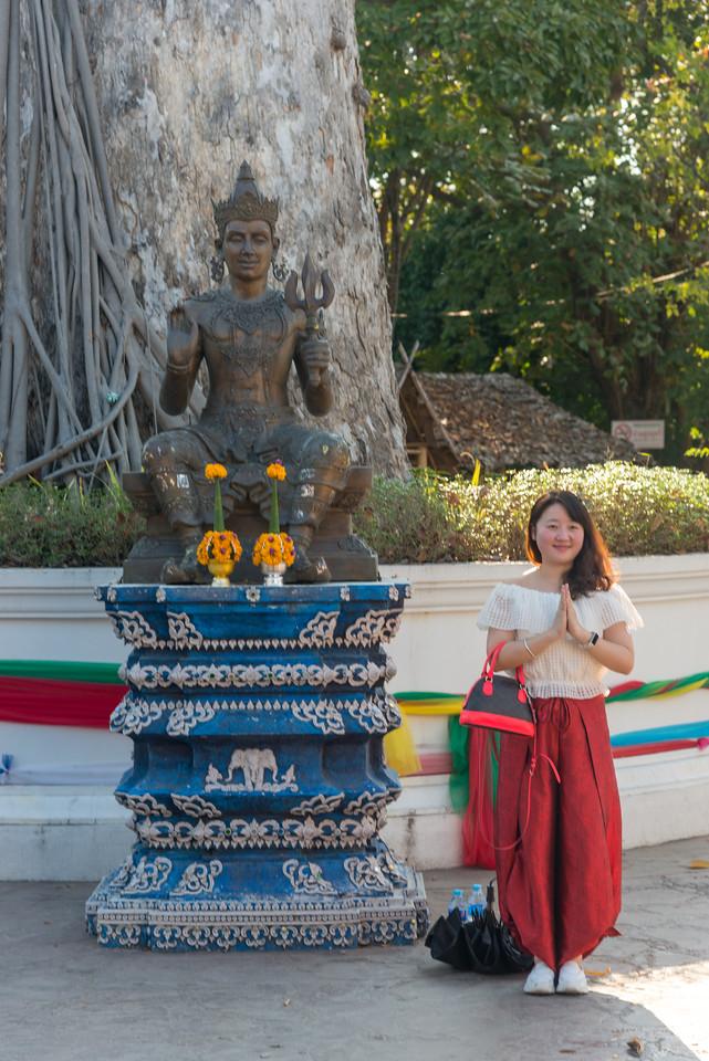 At entrance to Chiang Mai Pillar City Shrine (ศาลหลักเมืองเชียงใหม่), Chiang Mai, Thailand.