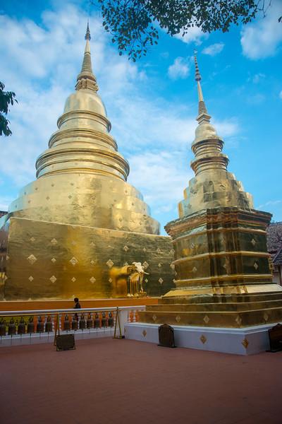 Wat Phra Singh Woramahawihan (วัดพระสิงห์วรมหาวิหาร ) Temple in gold, 14th-century Buddhist temple boasting gold & copper Buddhas, murals & ancient manuscripts.Chiang Mai, Thailand.