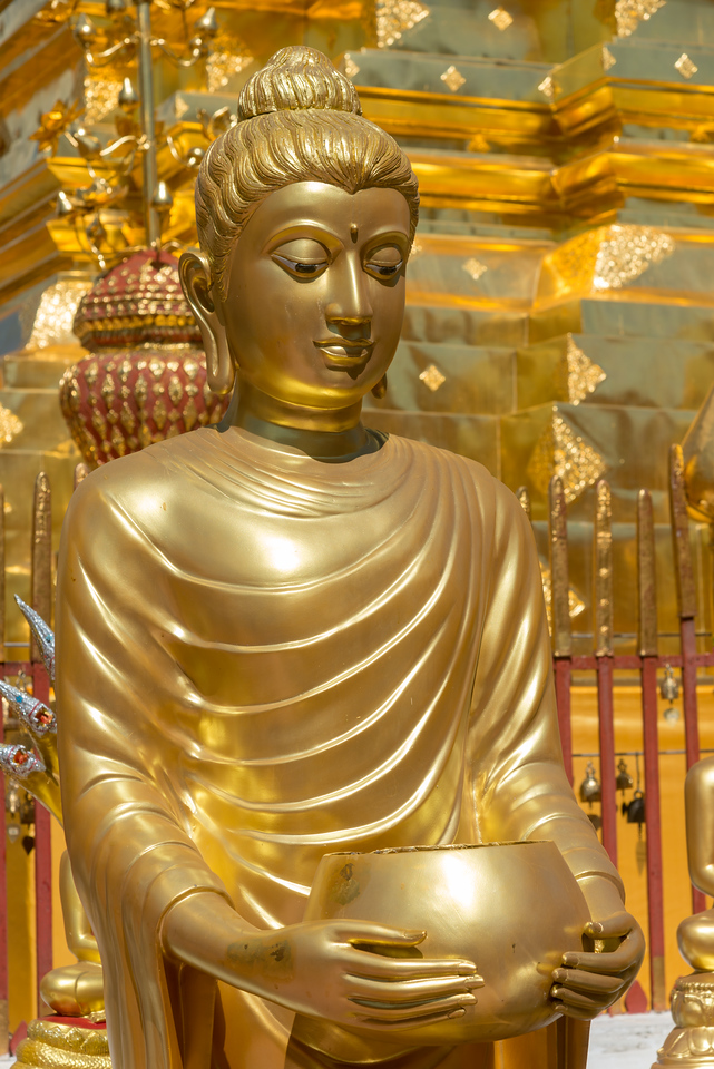 "Buddha statue in gold. Wat Phrathat Doi Suthep (วัดพระธาตุดอยสุเทพ)  is a Theravada wat in Chiang Mai Province, Thailand. The temple is often referred to as ""Doi Suthep"" although that is the name of the mountain where it's located. This is a sacred site to many Thai people and is also referred as the ornate temple complex. The complex features a golden stupa, statues & a legendary white elephant shrine."