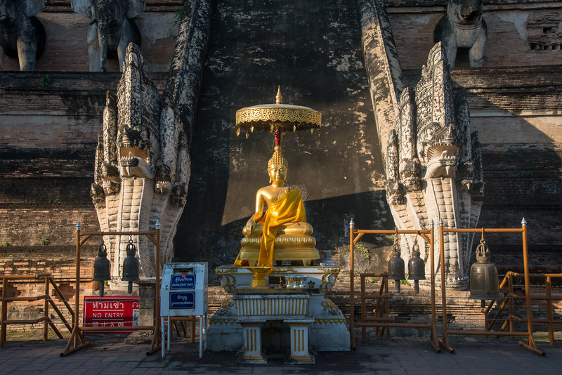 Wat Chedi Luang (วัดเจดีย์หลวง) (temple of the big stupa or temple of the royal stupa). Wat Chedi Luang is a Buddhist temple in the historic centre of Chiang Mai, Thailand. The current temple grounds were originally made up of three temples — Wat Chedi Luang, Wat Ho Tham and Wat Sukmin. Chiang Mai, Thailand.