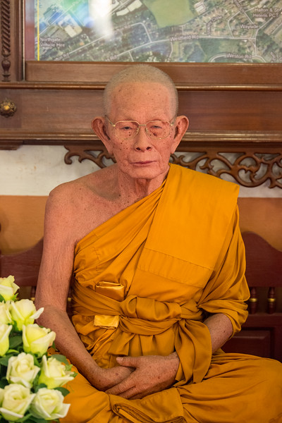 Buddhist monk wax statue inside Wat Phra Singh Woramahawihan (วัดพระสิงห์วรมหาวิหาร ), 14th-century Buddhist temple boasting gold & copper Buddhas, murals & ancient manuscripts.Chiang Mai, Thailand.