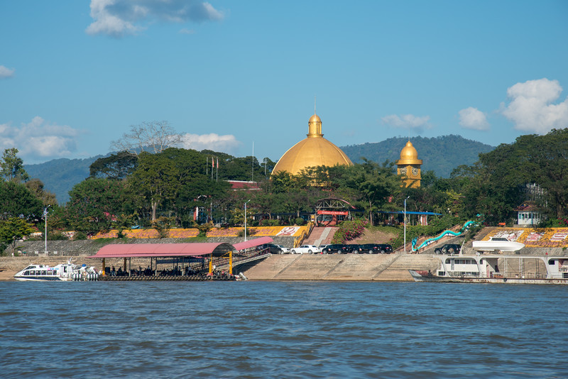 Buddhist Temple - Golden Triangle Free Zone<br /> <br /> Golden Triangle Buddha Temple on the Laos side across the Mekong River, Thai side. Located on the river bank on in Laos and at the Golden Triangle Special Economic Zone (SEZ).