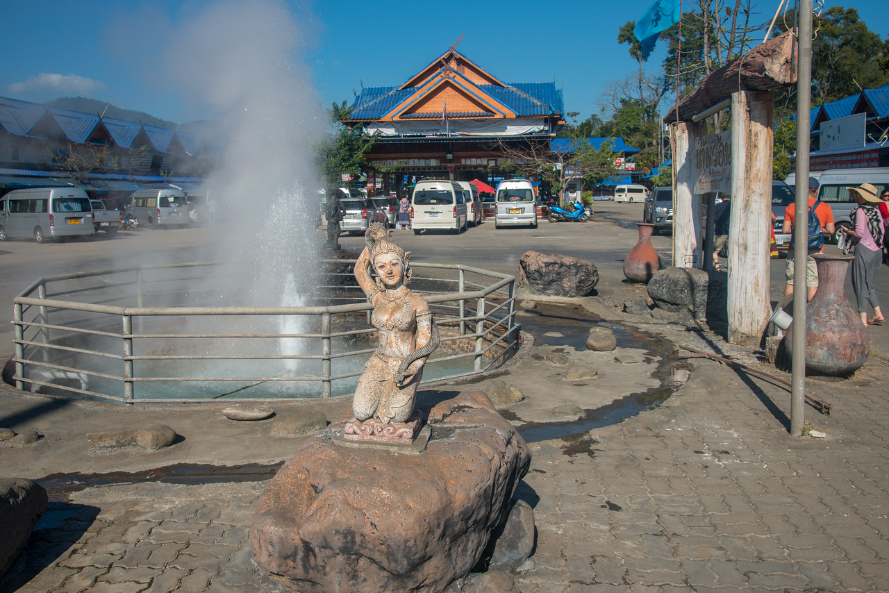 Mae Kachan Hot Spring and Geyser (น้ำพุร้อนแม่ขะจาน เชียงราย) (Wiang Pa Pao) <br /> Maekachan Hot Springs is located in Mae Chedi Mai District, Wiang Pa Pao County, Chiang Rai Province. Has three natural hot spring well. Each pond about 3 meters wide. With temperature of about 80 degrees boiled eggs can be cooked within 3 minutes. You can get rooms with mineral water private bath from the hot springs. Good place to halt between Chiang Mai – Chiang Rai and get a bite or buy souvenirs like clothing, local weaved cotton and jewellery, wood carvings, etc. at the local shop.