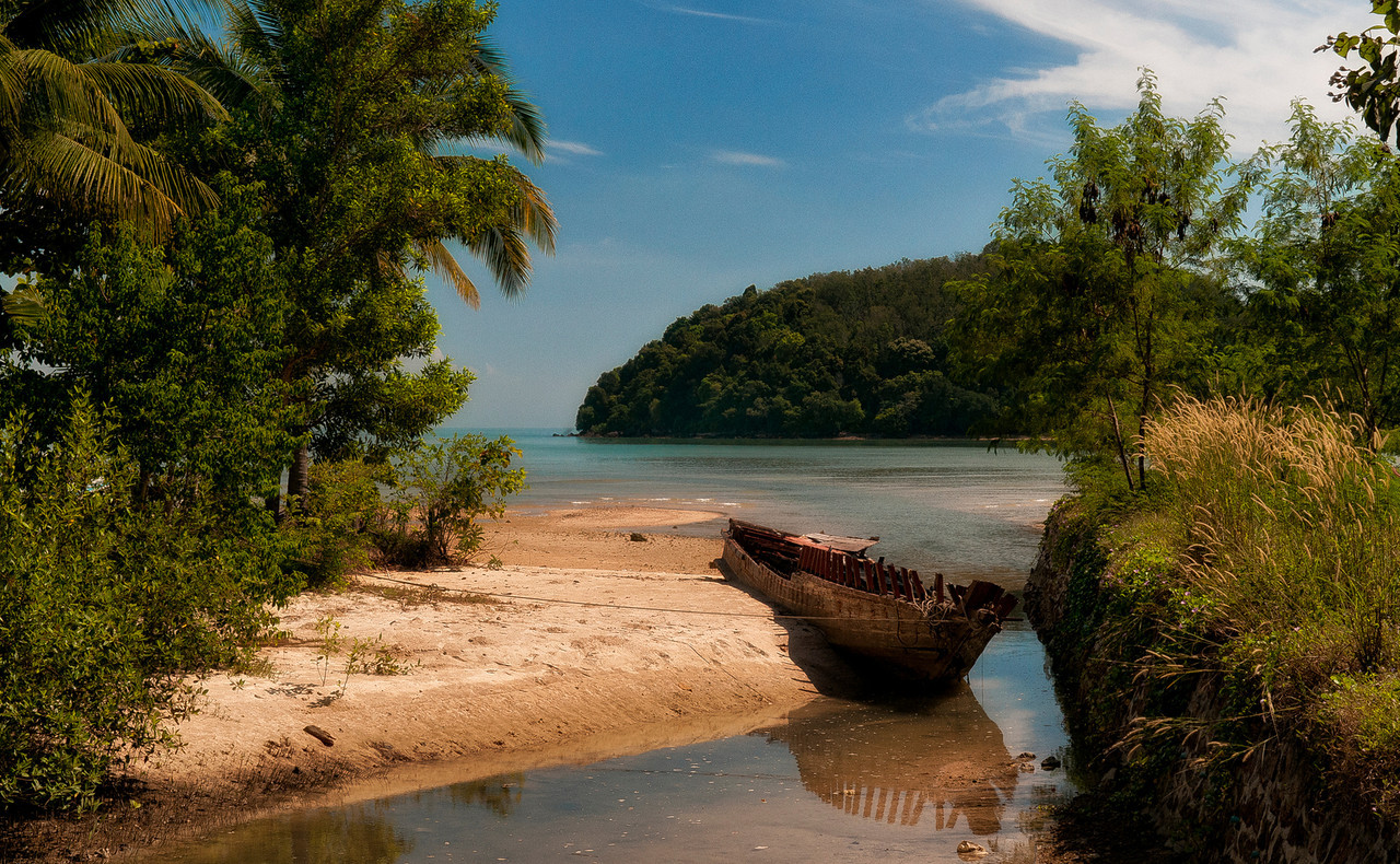 Abandoned wooden boat .<br /> <br /> South Thailand, 2012.