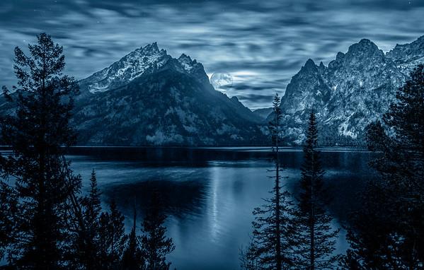 Moon over Jenny Lake, #0990