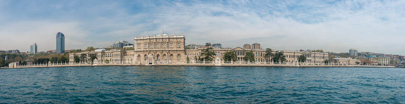 Lovely panoramic view seen during Bosphorus boat trip.  The Bosporus or Bosphorus is a narrow, natural strait and an internationally significant waterway located in northwestern Turkey. It forms part of the continental boundary between Europe and Asia, and divides Turkey.