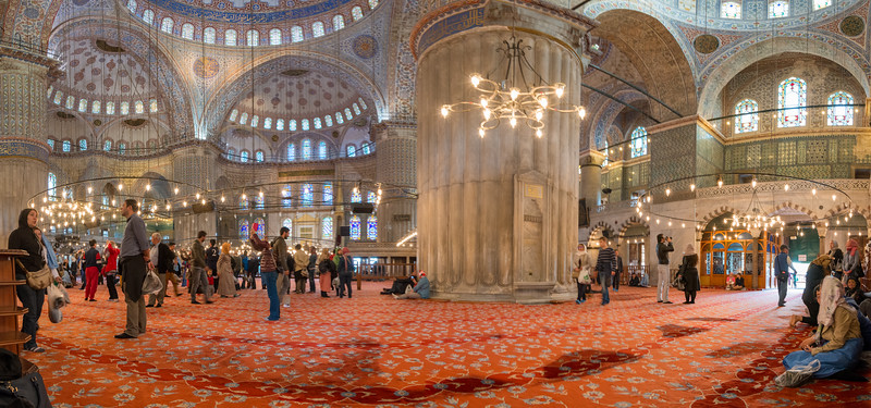 Many tourists visit the panoramic Blue Mosque (Sultanahmet Camii). Sultan Ahmed Mosque is a historic mosque located in Istanbul, Turkey. A functioning mosque, attracting very large numbers of tourist visitors. It was constructed between 1609 and 1616 during the rule of Ahmed I. Its Külliye contains Ahmed's tomb, a madrasah and a hospice. Hand-painted blue tiles adorn the mosque's interior walls, and at night the mosque is bathed in blue as lights frame the mosque's five main domes, six minarets and eight secondary domes. It sits next to the Hagia Sophia, another popular tourist site.<br /> <br /> Istanbul, Turkey is a transcontinental city in Eurasia, straddling the Bosporus strait between the Sea of Marmara and the Black Sea.