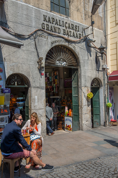One of the entrance to <br /> Grand Bazaar, Kapalı Çarşı, Istanbul, Turkey. Grand Bazaar is a historic sprawling network of indoor souks & market streets peddling leather, jewelry & gifts.