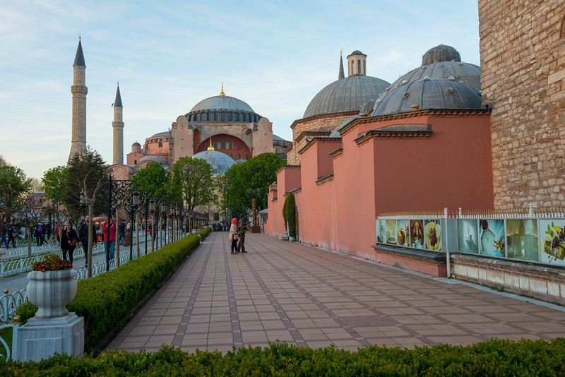 Hagia Sofia and İbrahim Han Sebili.<br /> <br /> Istanbul, Turkey is a transcontinental city in Eurasia, straddling the Bosporus strait between the Sea of Marmara and the Black Sea.