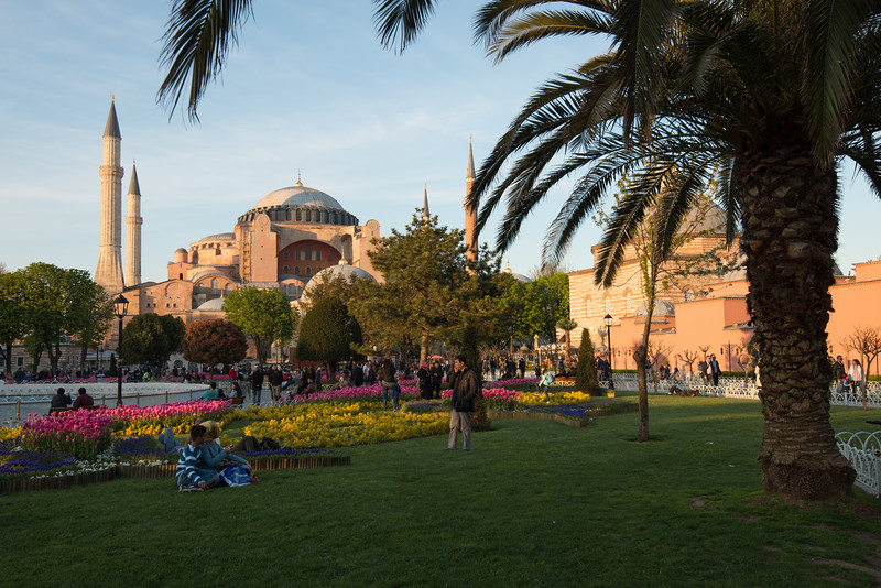 Hagia Sophia from the Blue Mosque (Sultanahmet Camii). Sultan Ahmed Mosque is a historic mosque located in Istanbul, Turkey.<br /> <br /> Istanbul, Turkey is a transcontinental city in Eurasia, straddling the Bosporus strait between the Sea of Marmara and the Black Sea.