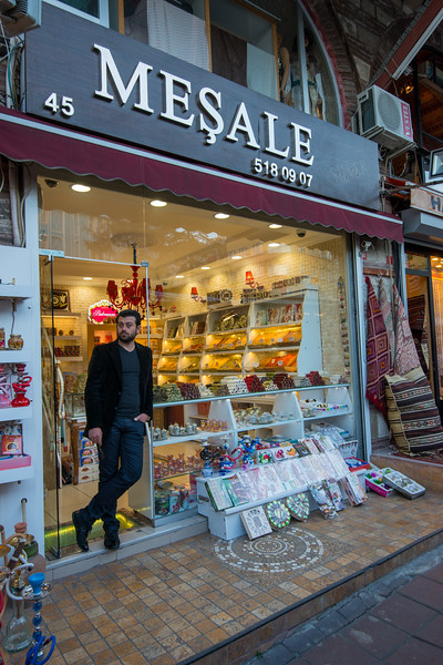 Meşale gift shop.<br /> <br /> Istanbul, Turkey is a transcontinental city in Eurasia, straddling the Bosporus strait between the Sea of Marmara and the Black Sea.