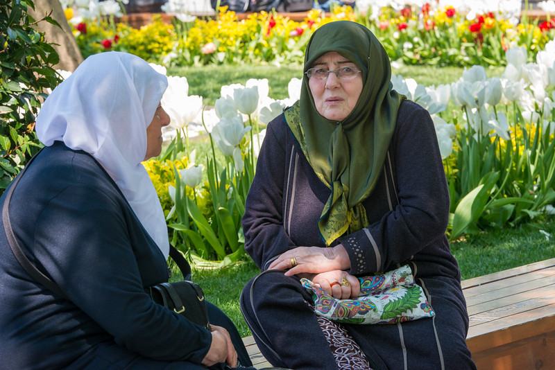 Tulip Festival in Istanbul, Turkey. Locals also enjoying the festival.