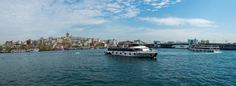 Panoramic view from Bosphorus Trip Dock. The Bosporus or Bosphorus is a narrow, natural strait and an internationally significant waterway located in northwestern Turkey. It forms part of the continental boundary between Europe and Asia, and divides Turkey.