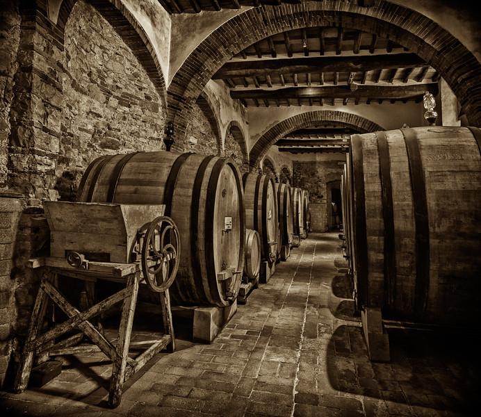 Wine Cellers at Rocca di Castagnoli (sepia)