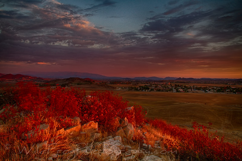 Last of the days light, looking south from Menifee California.