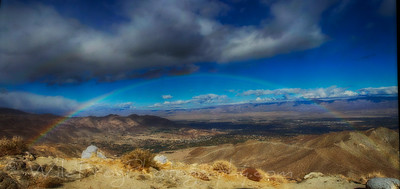 looking down on Palm Desert California and a Rainbow