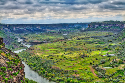 Looking east along the snake river to the Perrine Bridge and Twin Falls