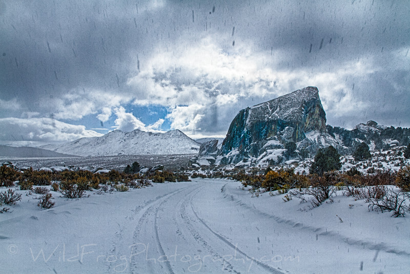Looking back to Elephant rock with snow falling
