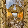 Old stone house ruins on the California trail