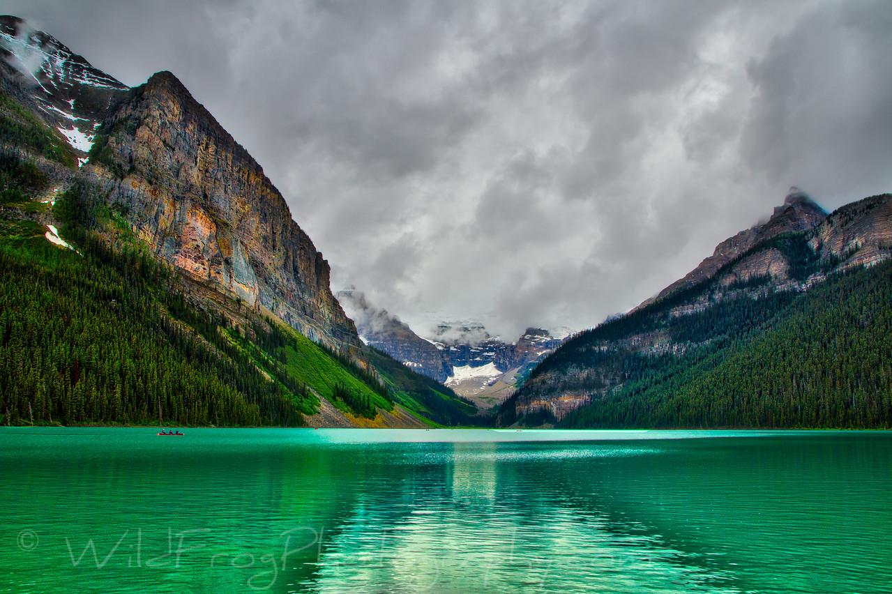 Cloudy and rainy day at Lake Louise, Alberta
