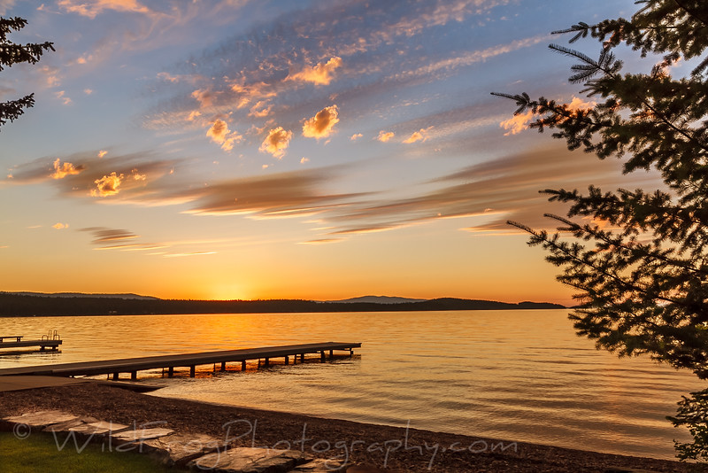 sunset on flathead lake Montana
