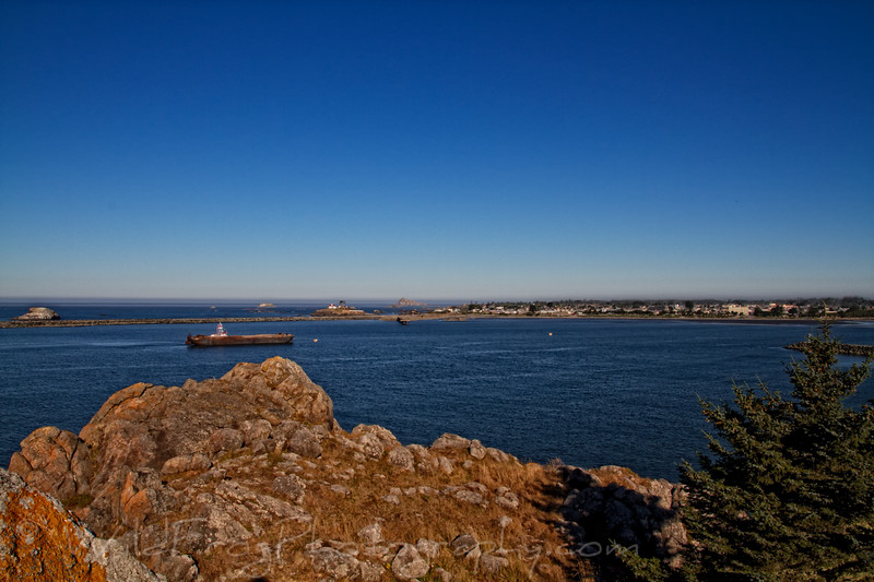 looking across the Harbour to Battery Point Lighthouse in Crescent City - CA
