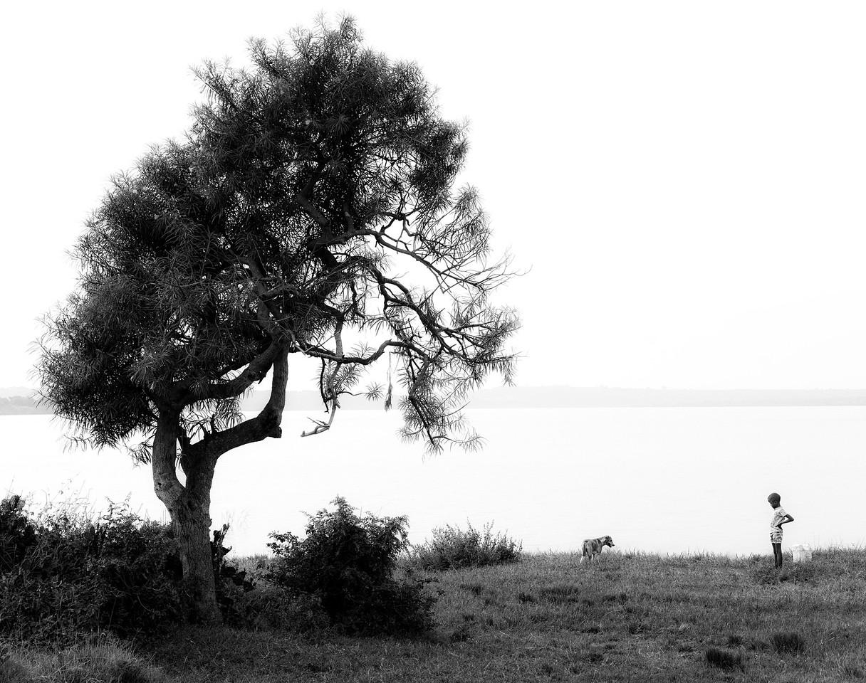 A boy and his dog on the shores of lake Edward, Uganda, 2016.