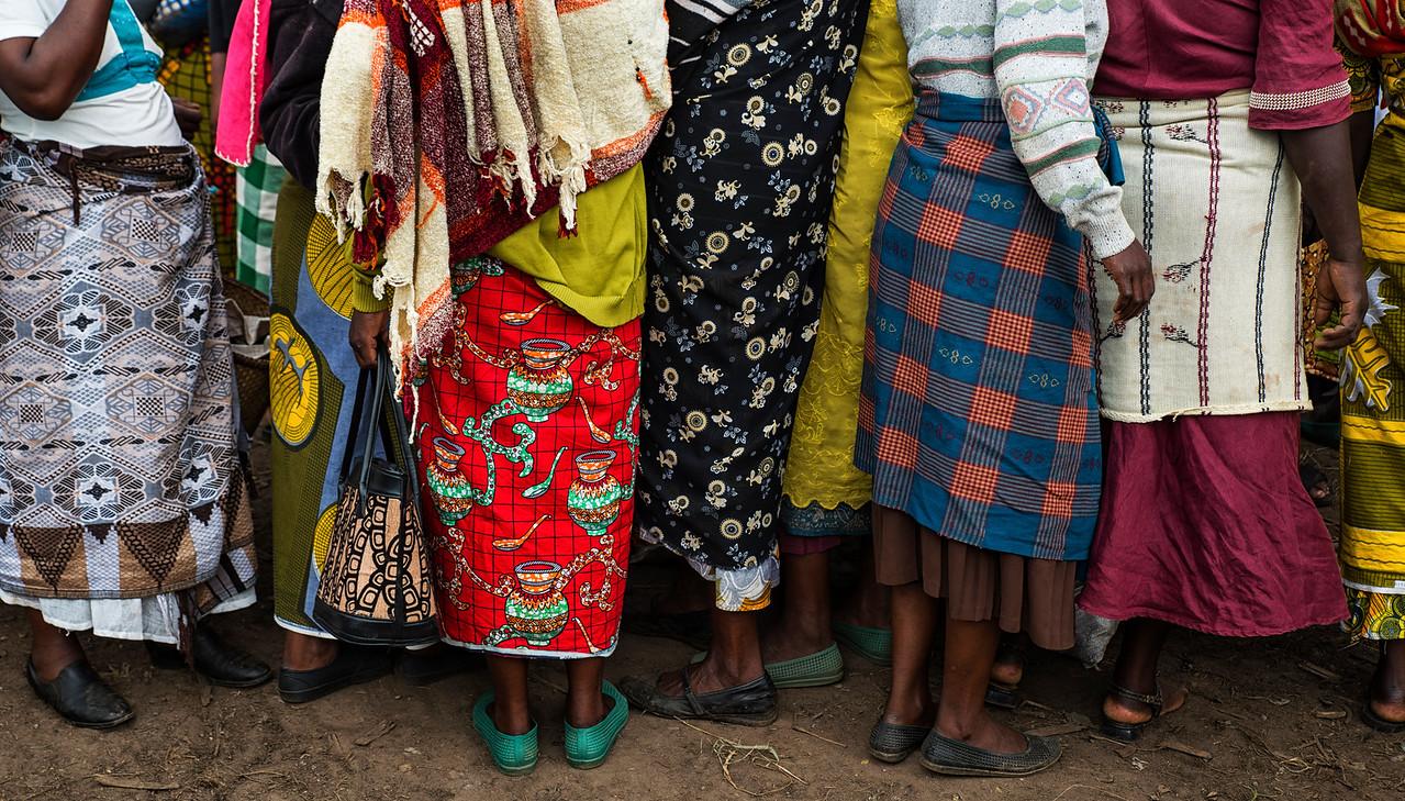 Colorful clothing found at an Irish/potato market in Kisoro, Uganda 2016