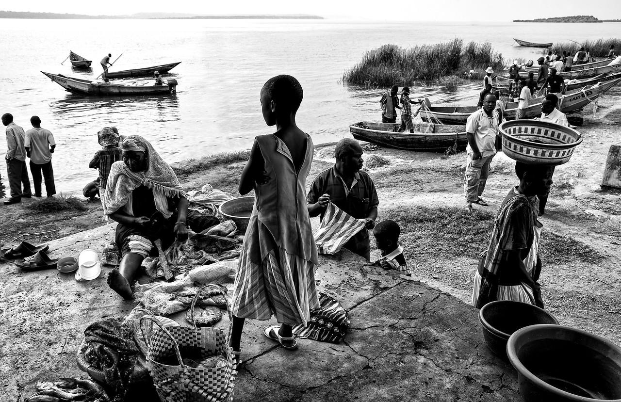 Fish market at Mweya, a small village inside the Queen Elizabeth National Park.<br /> <br /> Uganda, 2016
