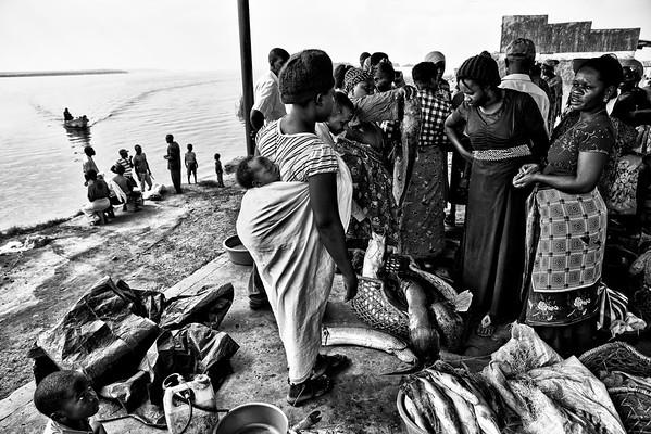 Fish market at Mweya, a small village inside the Queen Elizabeth National Park.  Uganda, 2016