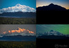 """Denali Quadriptych""<br /> <br /> A sample of the infinity of possible moods of North America's highest mountain. The 4 images were captured within a 12-hour period from the same location.<br /> <br /> Denali State Park, Alaska."