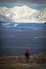 Man hiking among the tundra, Little Coal Creek Trail, Denali State Park, Alaska, USA.