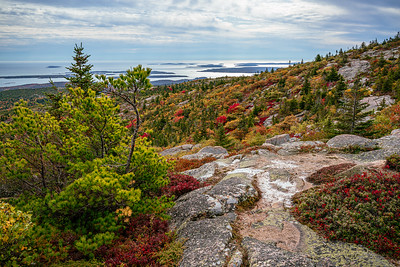 Mt Desert island southern coastline from the top of Cadillac Mountain