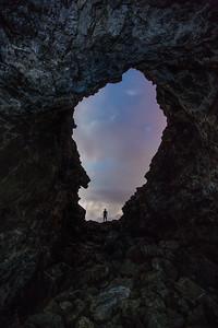 Evening sky thorugh lava tube, Hawaii