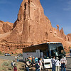 Road Scholar group arriving at the Park Avenue trailhead, Arches National Park.