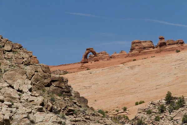 Delicate Arch (in the distance in the center of this image).