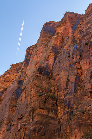 Colors of the canyon walls in shade.