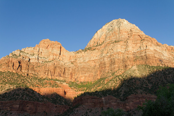 Sunlight on west-facing canyon walls, heading toward sunset.